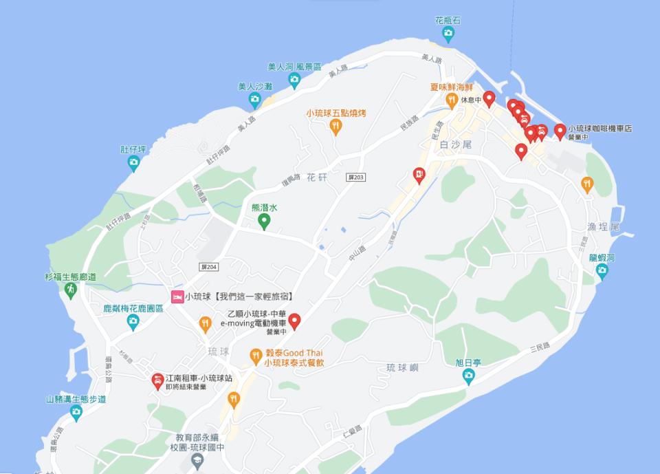 小琉球租車價格,googlemap