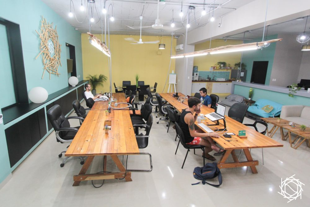 Nest coworking main level workspace