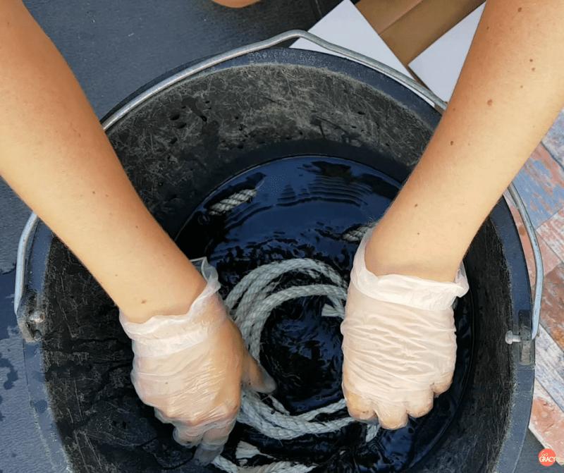 Sisal touw kleuren met textiel verf
