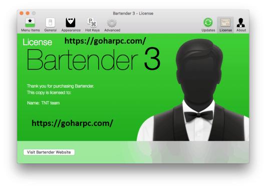 Bartender 3.0.12 Crack Plus License Key For Mac OS