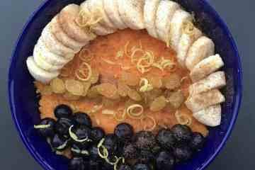 Sweet potato breakfast bowl in a blue bowl