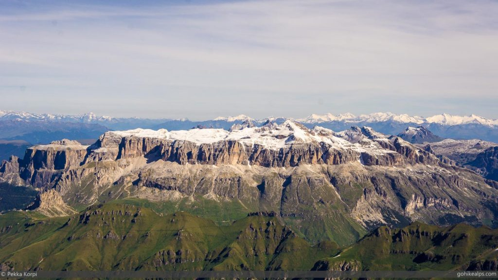 The Sella Massif viewed from the summit of Marmolada.