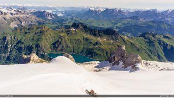 Lago Fedeia and Marmolada Ski Area in the Summer