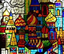 Stained glass at the Trubnya station - detail