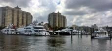 Parking lot of big boats, including Ron Howard's IMAGINE