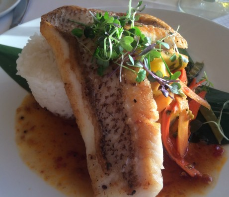 Red Snapper grilled in skin with heirloom tomato chutney