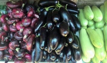 The Yalta onions - purple, flat and very sweet; eggplant and squash.
