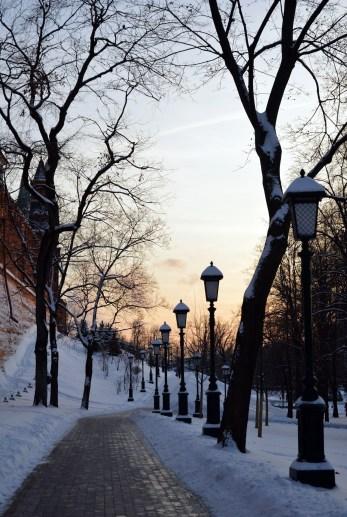 Winter sunset by the Kremlin