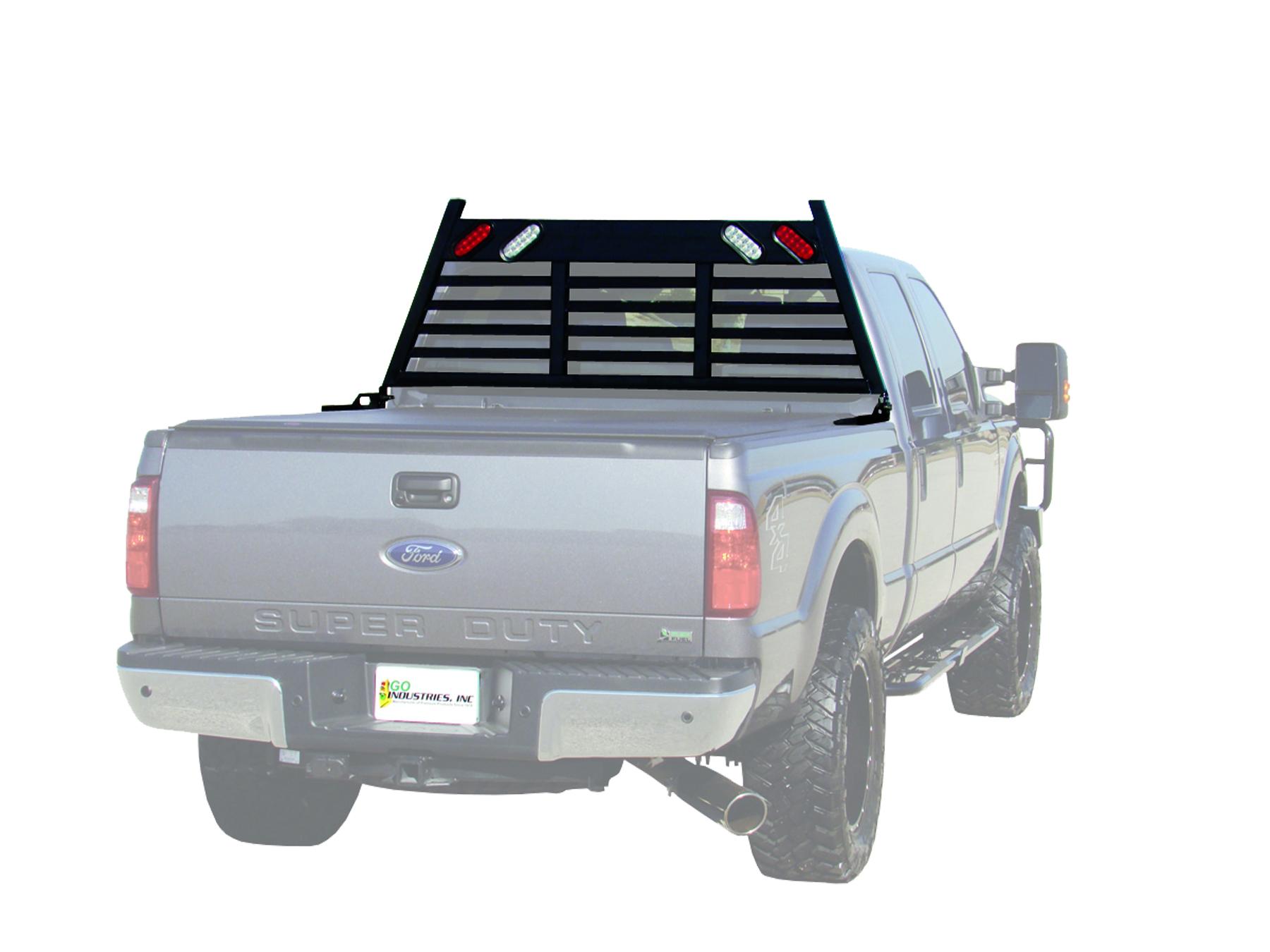 623b lighted hd headache rack black truck accessories