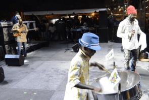 US Virgin Islands Young Man Playing Steel Pan Alongside Pressure Buss Pipe