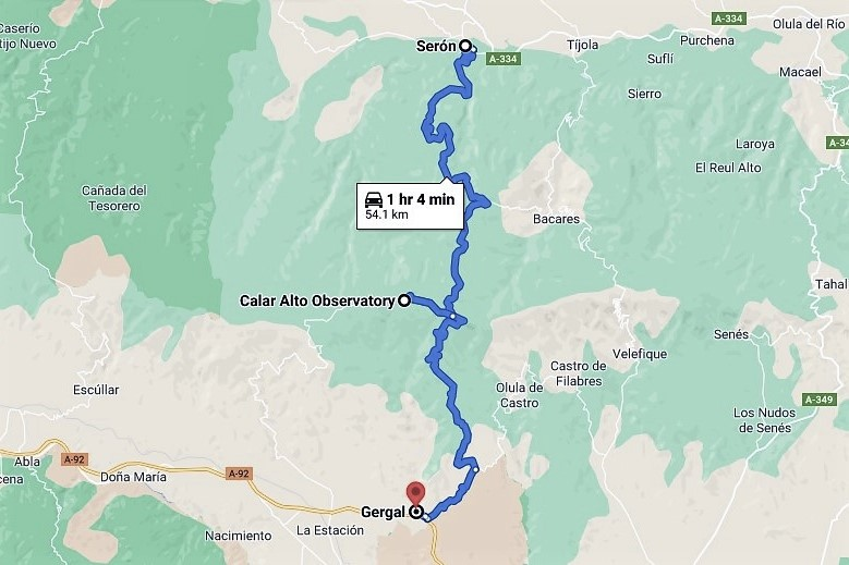 Route to Calar Alto Observatory