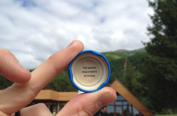 Wisdom comes with age and experience, but sometimes also on the inside of a bottlecap. Roughly translated; The most important things in life are not things.