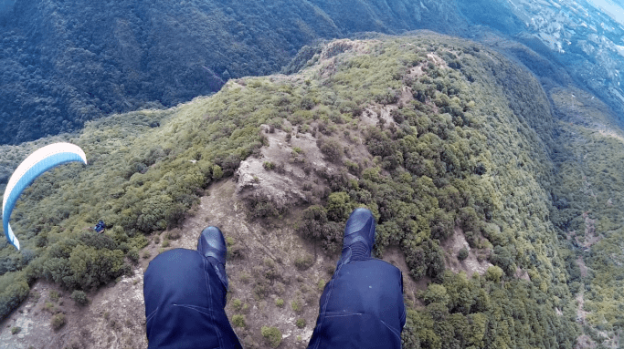 Paragliding in the Balkan Mountains.