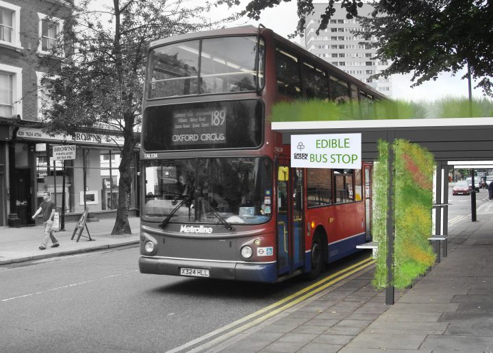 Bloco verde ponto de ônibus