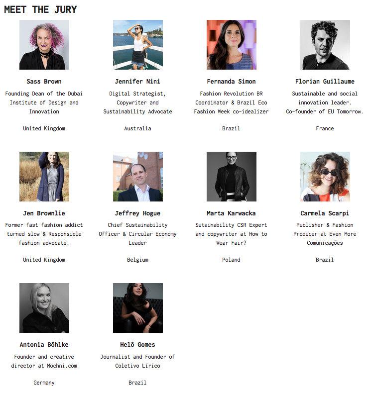 sustainable fashion award 2018 jury