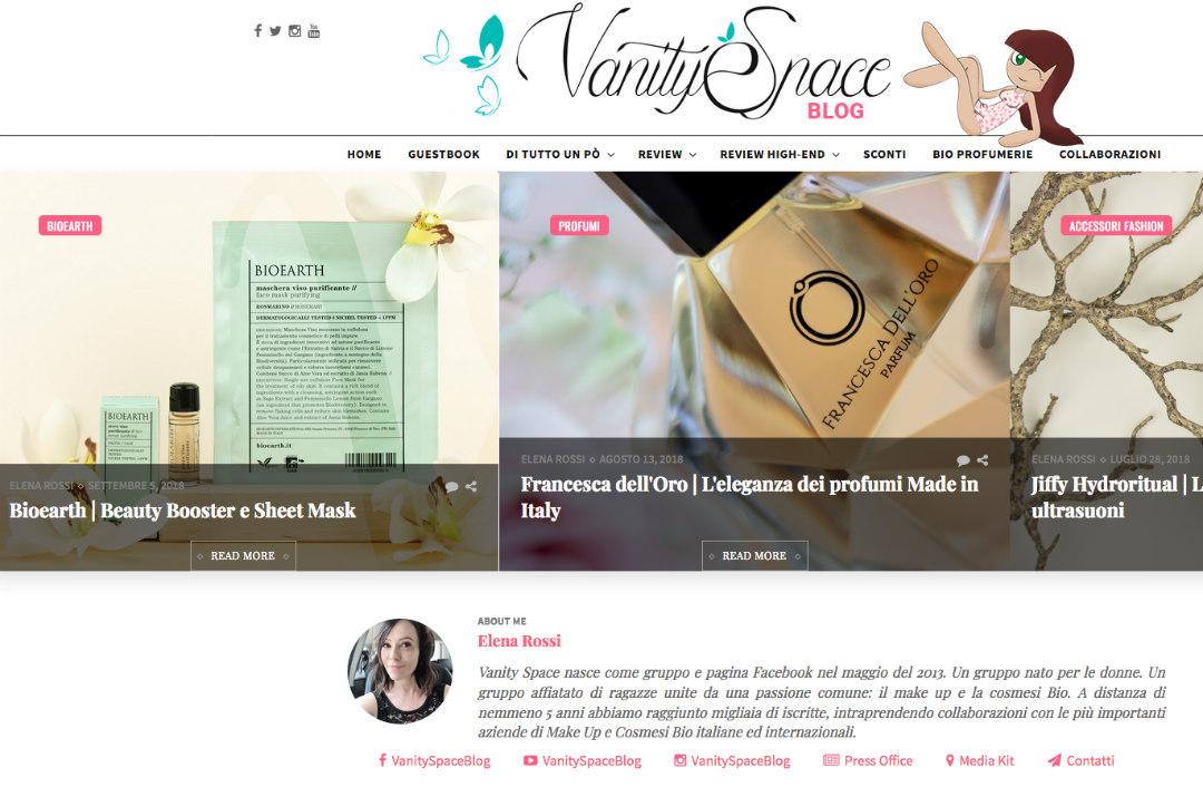 Vanity space blog videata