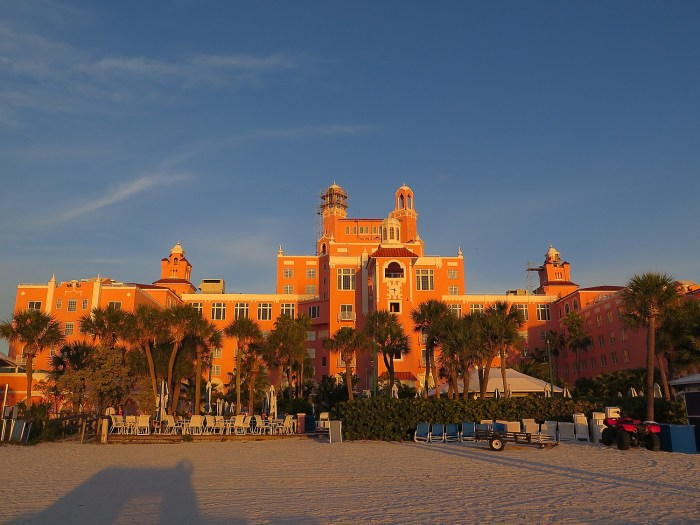 "Loews Don CeSar (the ""Pink Lady"") in the golden light of the setting sun on St. Pete Beach © 2016 Karen Rubin/news-photos-features.com"