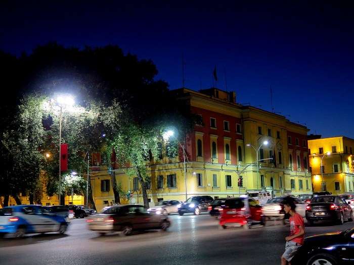 Nighttime in Tirana, Albania's bustling capital city © 2016 Karen Rubin/goingplacesfarandnear.com