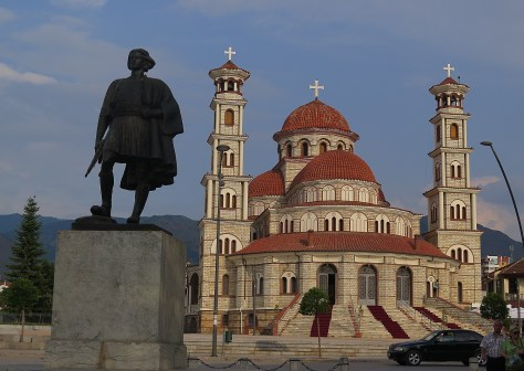 """National Hero"" Monument with Resurrection Orthodox Cathedral in the heart of Korca 247 © 2016 Karen Rubin/goingplacesfarandnear.com"