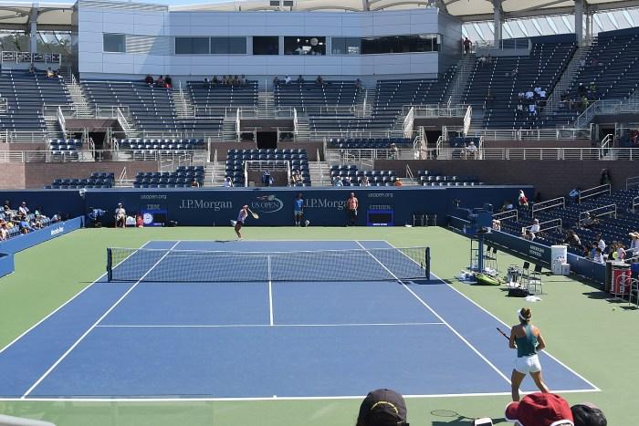 Simona Halep and  Kiki Bertens  practice at the new Grandstand at the Billie Jean King Tennis Center © 2016 Karen Rubin/news-photos-features.com