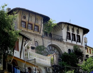 Historic Gjirokaster's distinctive architecture © 2016 Karen Rubin/goingplacesfarandnear.com