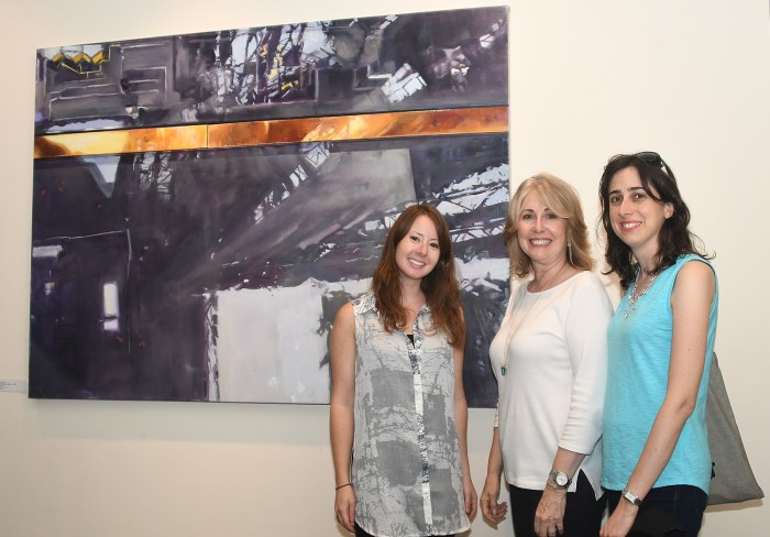 Gold Coast Arts Center Director Regina Gil and Alexandra Gil who curates the Shorts Films in the Gold Coast International Film Festival, with artist Laini Nemett and her painted perspective of the Eiffel Tower © 2016 Karen Rubin/goingplacesfarandnear.com