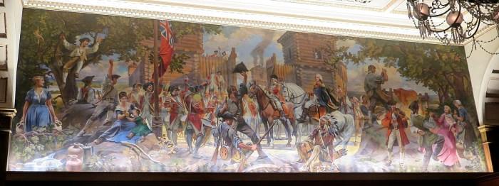 """The Taking of Fort Pitt"" mural hangs in The Omni William Penn Hotel's award-winning restaurant, The Terrace Room, that dates from 1916 © 2016 Karen Rubin/goingplacesfarandnear.com"