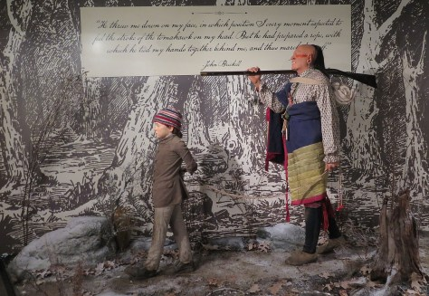 'Captured by Indians': A life-like vignette portrays the capture of 10-year old John Brickell, taken just a few miles from Fort Pitt © 2016 Karen Rubin/goingplacesfarandnear.com