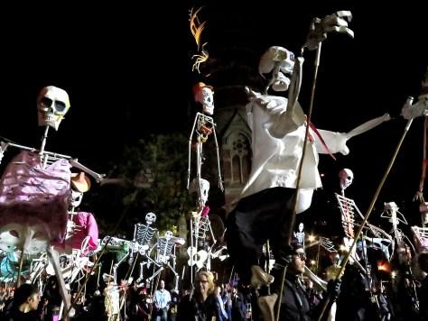 Skeletons on parade in New York City © 2016 Karen Rubin/goingplacesfarandnear.com