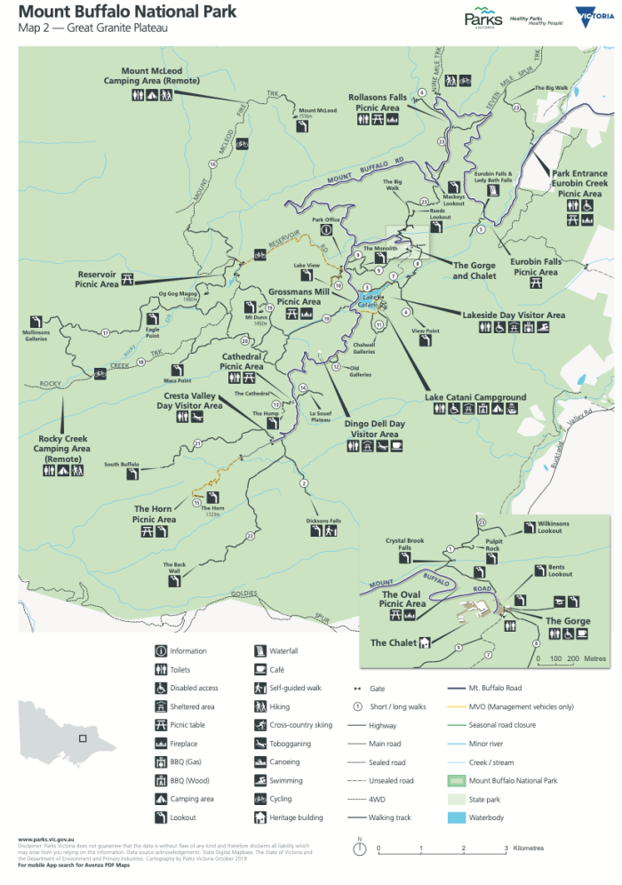 Mt Buffalo National Park map