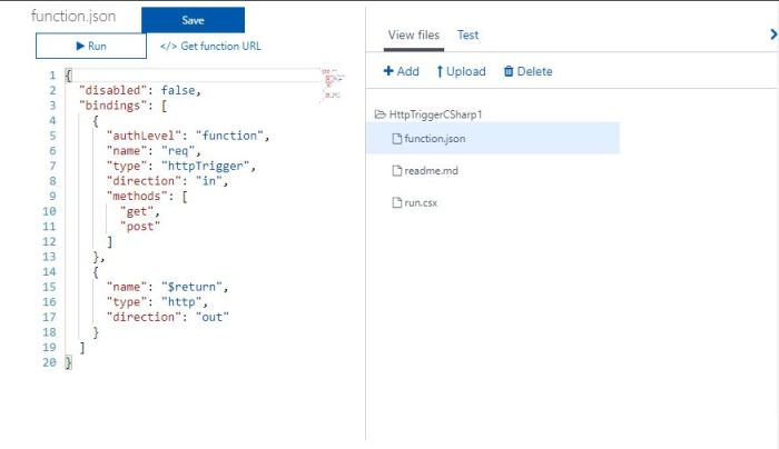 Azure Functions Tutorial Function JSON