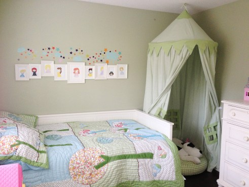 Grace's room, princess pictures, play tent