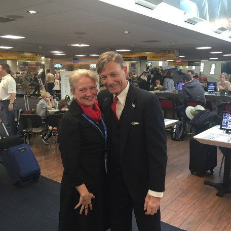 Director of Inflight Services Michaela Klasner catches up with a flight attendant during gate visits at LGA