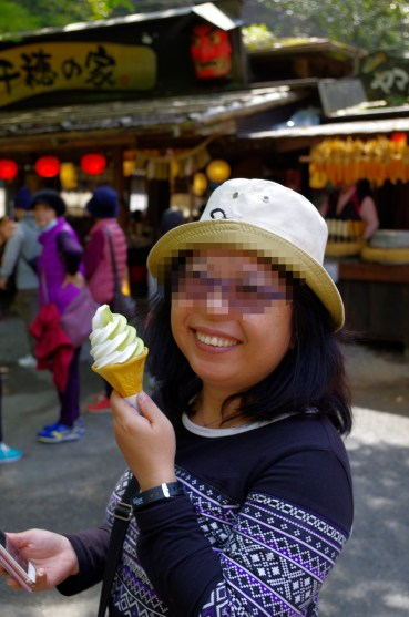 Ice cream at Takachiho gorge