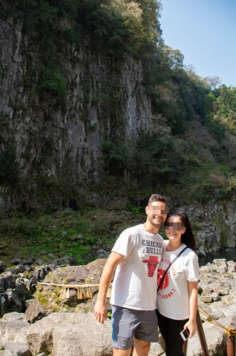 70 meter tall wall at Takachiho gorge