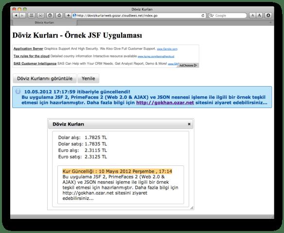 JSF & PrimeFaces ile yapılmış güncel Döviz Kurlarını Gösteren Java Web Uygulaması