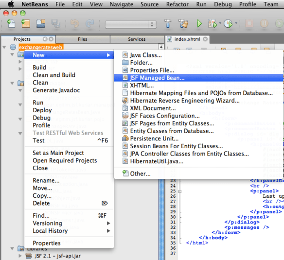 New > JSF Managed Bean in NetBeans