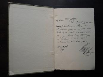 Inscription from J.B. Kerfoot to Alfred Stieglitz, December 25, 1909.