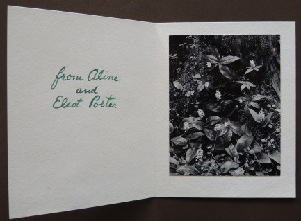 Christmas card from Aline and Eliot Porter, undated.