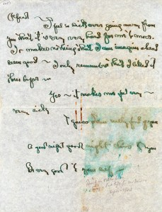 Note from Georgia O'Keeffe to Alfred Stieglitz, c. 1943-4-28. Letters to Alfred Stieglitz, 1933-1944, Georgia O'Keeffe Museum.
