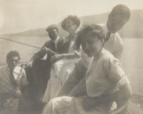 Georgia O'Keeffe with Friends in Boat, 1908 Unidentified photographer Black and white photograph 3 1/8 x 3 7/8 in. 2014.03.239