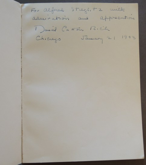 Inscription from Daniel Catton Rich to Alfred Stieglitz.