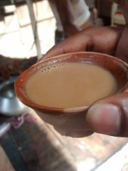 Tea served in earthen cup