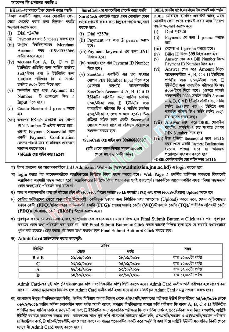 Jagannath University Admission Result 2016-17