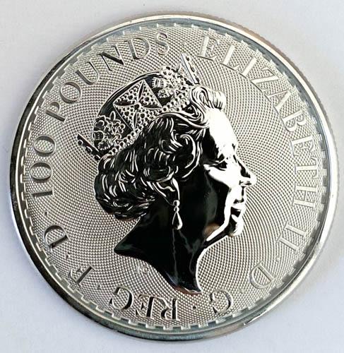 1 Oz Platinmünze Britannia hinten
