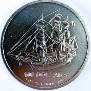 1 Oz Platinmünze Cook Island Platin Münze Vorne