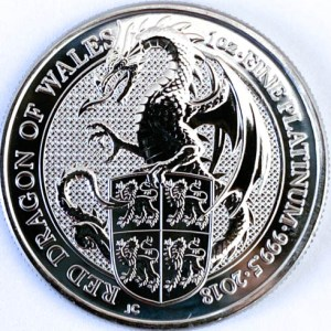 1 Oz Platinmünze Queens Beasts Red Dragon Münze Vorne