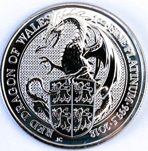 1 Oz Platinmünze Queens Beasts Red Dragon Münze Vorne