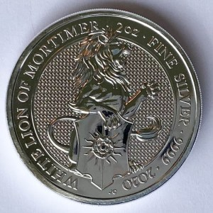 White Lion of Mortimer 2020 Silbermünze 2 Oz