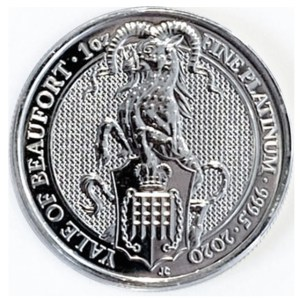 1 Oz Platinmünze Queens Beasts 2020 Yale of Beaufort